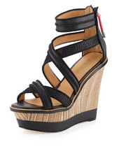 L.A.M.B. Carerra Leather and Mesh Wedge Sandal, Black/Black