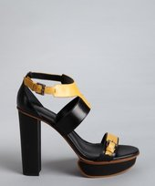 Tod's black and mustard leather colorblock buckle strap sandals