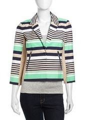 Laundry by Shelli Segal Notched Striped Twill Jacket, Inkblot