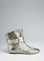 Giuseppe Zanotti silver and platinum croc embossed leather buckle detail ankle boots