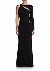 David Meister Single-Sleeve Jersey Slash-Front Gown