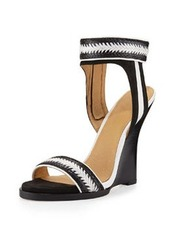 L.A.M.B. Fina Braided Wedge Sandal, Black/White