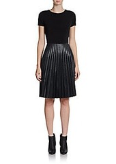 Calvin Klein Knit and Faux Leather Dress