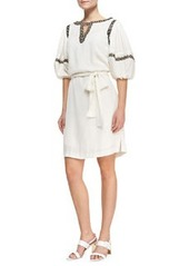 Puff-Sleeve Shirtdress with Faux-Leather Trim   Puff-Sleeve Shirtdress with Faux-Leather Trim