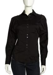 L.A.M.B. Dolman-Sleeve Button-Down Blouse, Black