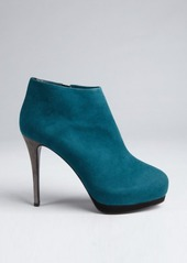 Giuseppe Zanotti peacock and slate suede colorblocked platform ankle boots