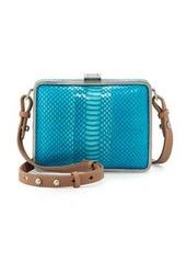 Foley + Corinna Cadeau Snakeskin-Print Leather Crossbody Tote, Turquoise