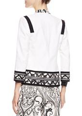 Etro Print-Trimmed Stretch Cotton Jacket, White/Black