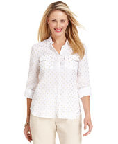 Charter Club Petite Three-Quarter-Sleeve Polka-Dot Linen Shirt