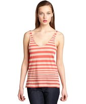 French Connection coral and biscuit striped cotton tank top