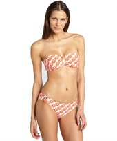 Shoshanna orange 'Zulu' print button bikini bottom