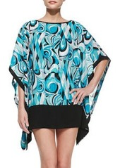 Printed Sheer Caftan Coverup   Printed Sheer Caftan Coverup