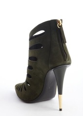 Giuseppe Zanotti green suede cutout detail pointed toe heel booties