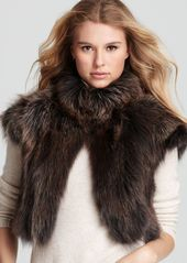 "Carmen Marc Valvo Couture for Maximilian Vest - 16"" Cap Sleeve Fox Fur"