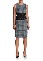 David Meister Lace-Waistband Tweed Dress