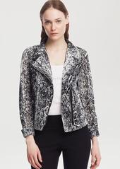 Kenneth Cole New York Ella Snake Print Moto Jacket