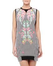 L.A.M.B. Eye Dazzler Houndstooth/Floral Bubble Dress, Black/White