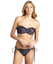 Shoshanna black floral 'Downtown Ditsy' ruffle string bikini bottom