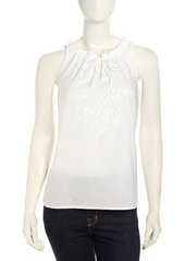 Laundry by Shelli Segal Ruffle Detailed Embroidered-Front Top, Optic White