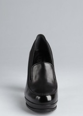 Tod's black leather platform loafer pumps