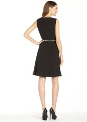 Calvin Klein black sheer paneled belted sleeveless dress