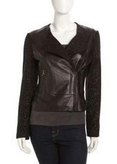 Laundry by Shelli Segal Asymmetrical Zip Mixed-Media Jacket, Black
