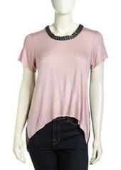T Bags High-Low Mesh-Back Shimmer Top, Rose Foil