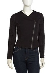 Laundry by Shelli Segal Lace-Embossed Twill Moto Jacket, Black