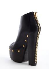 Giuseppe Zanotti black studded leather peep toe zip back platforms