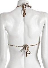 Diane Von Furstenberg mustard graphic snake print 'Deianira' triangle bikini top