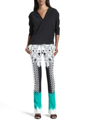 Etro Mixed-Print Flared Pants, Black/White/Green