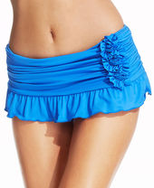 Kenneth Cole Ruched Ruffled Swim Skirt
