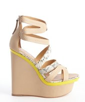 L.A.M.B. khaki and yellow leather python accent 'Jenelle' wedge sandals