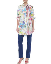 Etro Oversized Button-Front Paisley Blouse, White/Multicolor