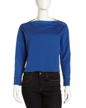 L.A.M.B. Bateau-Neck Mixed-Media Blouse, Cobalt