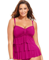 Kenneth Cole Reaction Plus Size Tiered Ruffle Tankini Top