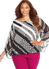 Alfani Plus Size Kimono-Sleeve Geo-Print Blouson Top