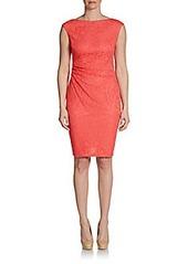 David Meister Lace Cap-Sleeve Cutout Back Dress