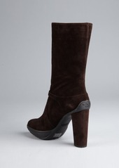 Tod's brown suede mid-calf platform boots