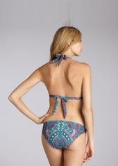 Shoshanna teal paisley stretch nylon ring detail bikini bottom