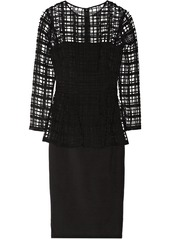 Lela Rose Guipure lace and cotton-blend crepe dress