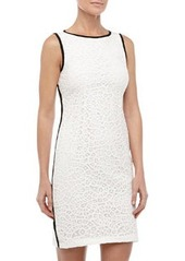 Isaac Mizrahi Battenberg Lace Piped Cocktail Dress, White/Black