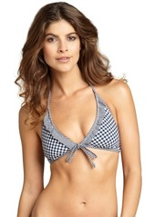 Shoshanna navy and white gingham ruffle halter bikini top