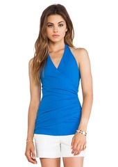 Susana Monaco Wrap Halter Top in Blue