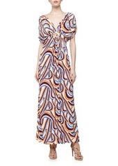 T Bags Swirl Print Mirrored V Maxi Dress