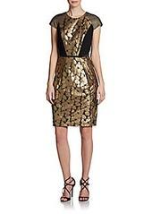 Carmen Marc Valvo Cap-Sleeve Metallic Lace Cocktail Dress