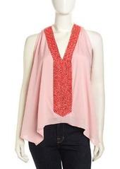 T Bags Sleeveless Beaded V-Neck Chiffon Blouse, Pink