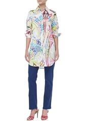 Etro Oversized Button-Front Paisley Blouse, White/Multicolor