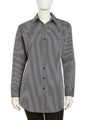 Go Silk Long-Sleeve Striped Poplin Blouse, Black
