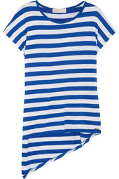 MICHAEL Michael Kors Asymmetric striped stretch-jersey top